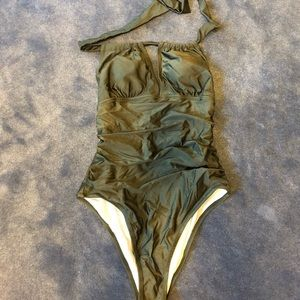NWT cupshe army green one piece halter swimsuit